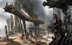 фэнтези, существа, развалины, город, монстр