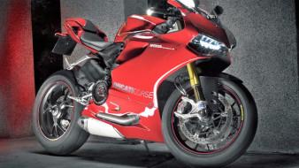 мотоцикл, красный, стена