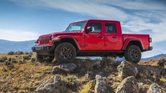 gladiator, джип, rubicon, красный, пикап, камни, jeep, 2020