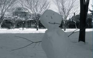 снег, парк, здание, снеговик