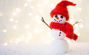 шапка, шарф, фон, снеговик