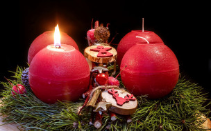 праздничные, новогодние свечи, огонек, свечи
