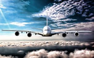 пассажирские самолеты, airbus, hdr, авиалайнер, облака, голубое небо, a380