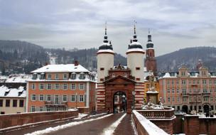 города, гейдельберг , германия, зима, мост, башни