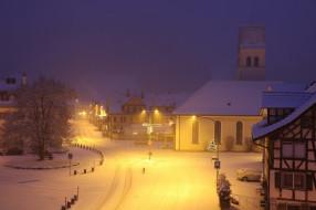 вечер, город, снег, зима