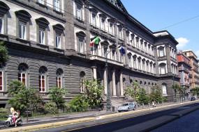 дорога, флаги, здание