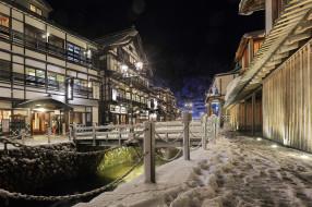 снег, ночь, улица