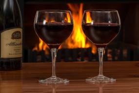 бокалы, вино, огонь