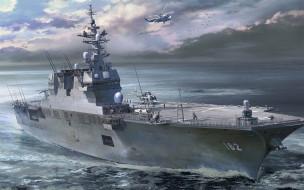военный корабль, jmsdf, вертолетоносец, hyuga-class, японские морские силы самообороны, авианосец