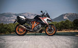 спортивный мотоцикл, ktm, оранжевый, черный, вид сбоку, дорога