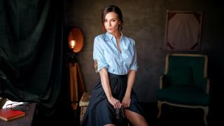 georgy chernyadyev, кресло, модель, женщина, сидит, очки