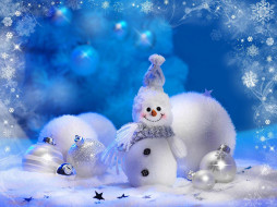 звездочки, снежинки, снег, шарики, снеговик