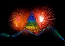 новый год, фейерверк, елка, фон