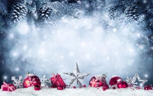 ёлка, шишки, снег, украшения