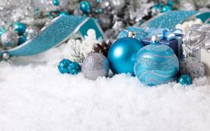 снег, шарики, лента