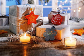 свечи, снег, окно, коробки