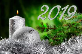 праздничные, новогодние свечи, год, свеча, шарик, мишура, ёлка