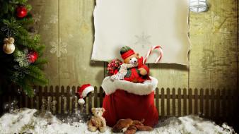 ёлка, забор, бумага, снег, мешок, игрушки