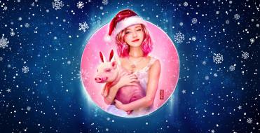 Праздник, Happy New Year, Арт, Зима, Снег, Новый год, Девушка, Свинья, Рождество, Снежинки, Фон