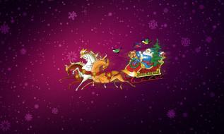 Фон, Новый год, Лошади, Рождество, Снежинки