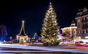 Австрия, Новый год, гирлянды, елка, улица, ночь, зима