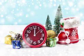 часы, снег