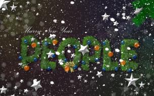 надпись, снежинки, звезды