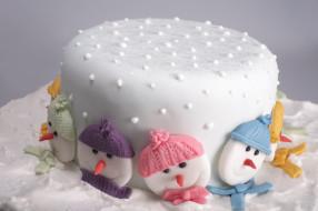 торт, снеговики
