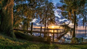 облака, причал, река, берег, лодка, деревья