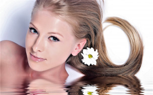 блондинка, цветок, вода, лицо