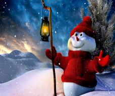 снеговик, снег, снежинки