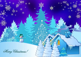 снеговик, снег, снежинки, лес