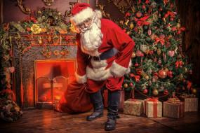 Санта Клаус, елка, подарки, Дед Мороз
