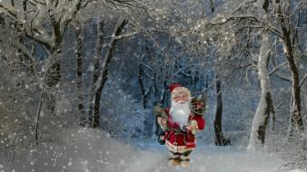 новый год, рождество, Санта Клаус, подарки, природа, зима, лес, праздник, снег, снегопад, деревья