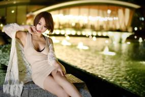 брюнетка, вечер, набережная, городские, девушка, модель, женщины, азиатки