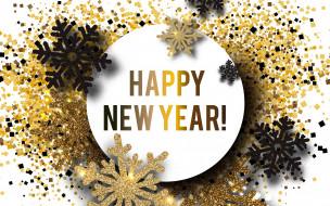 new year, снежинки, Новый год, happy, золотые