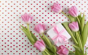 букет, сердечки, тюльпаны, подарок, фон, цветы