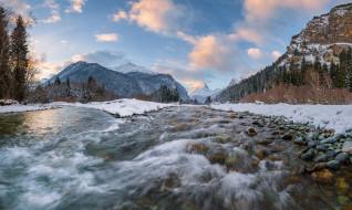 Река Теберда, Северный Кавказ, Река Аманауз, Домбай, слияние, реки, Россия, горы, лес, зима