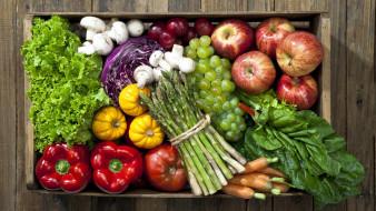 спаржа, салат, перец, яблоки, виноград