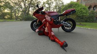 девушка, взгляд, фон, мотоцикл
