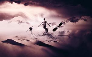 горы, пустыня, тучи, фигура, ствол