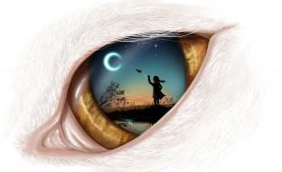 самолетик, фон, месяц, глаз, девочка