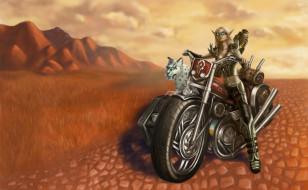 девушка, фон, тигр, мотоцикл