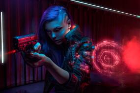 научная фантастика, оружие, киберпанк, женщины
