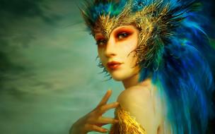 девушка, лицо, перья