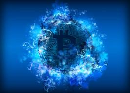 энергия, синий, Биткоин, значок