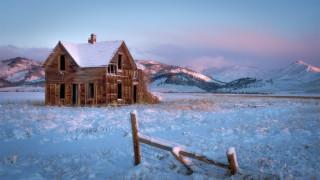 зима, поле, дом