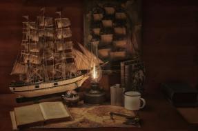 парусник, книга, фляга, лампа, карта