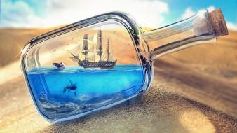 корабль, песок, бутылка, пустыня