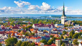города, таллин , эстония, панорама